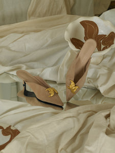 Artisanal Selene Low-Heeled Mules - Sand/Gold