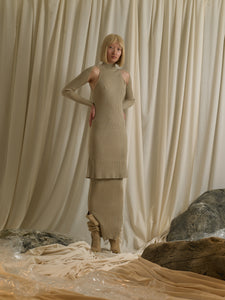 Rib-knit Dress (detachable sleeves) - Sand