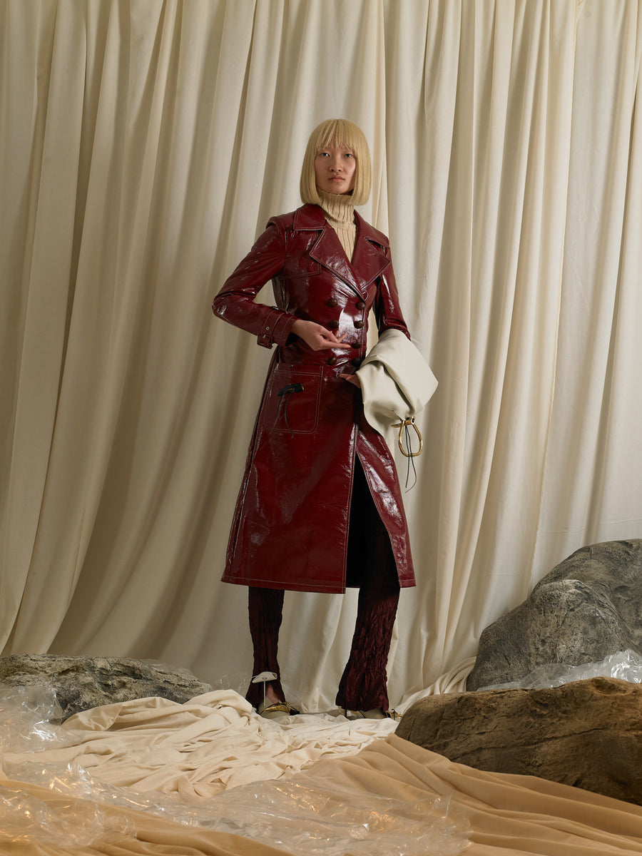 Vinyl-Leather Trench Coat - Garnet