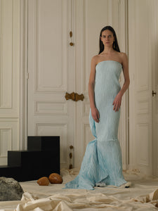 Sculptured Techno-pleat Dress - Ice Blue