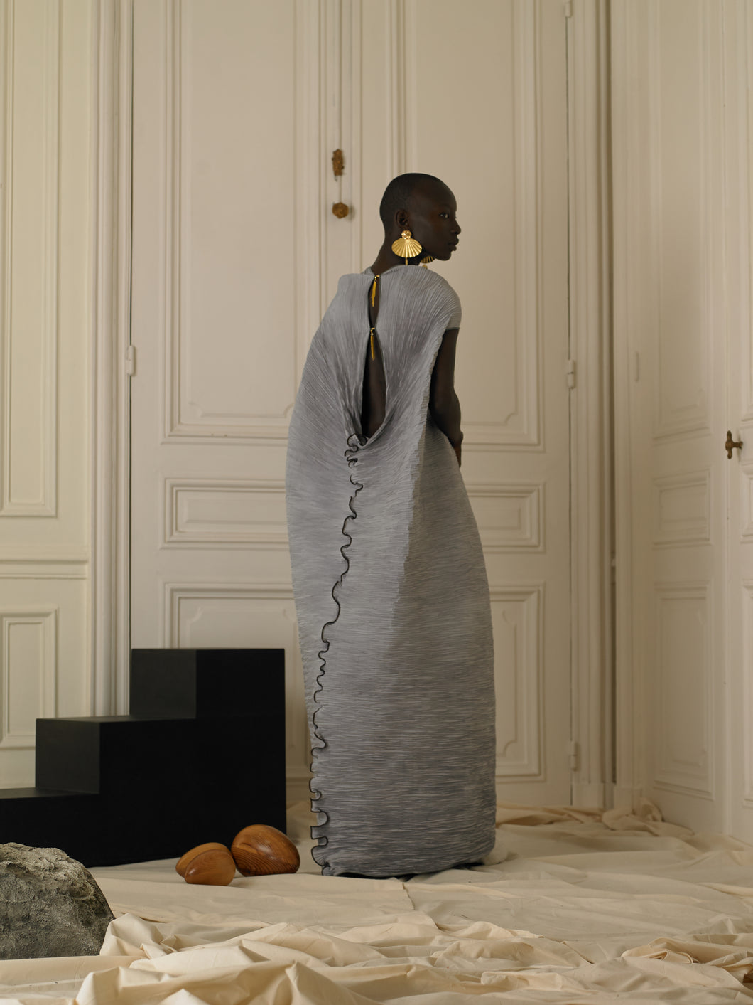 Techno-pleat Cone Dress - Grey