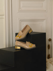 Artisanal Fringe Heeled Loafers - Sand / Gold