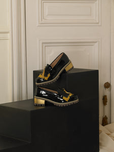 Artisanal Fringe Heeled Loafers - Black / Gold