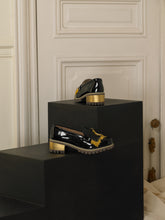 Load image into Gallery viewer, Artisanal Fringe Heeled Loafers - Black / Gold