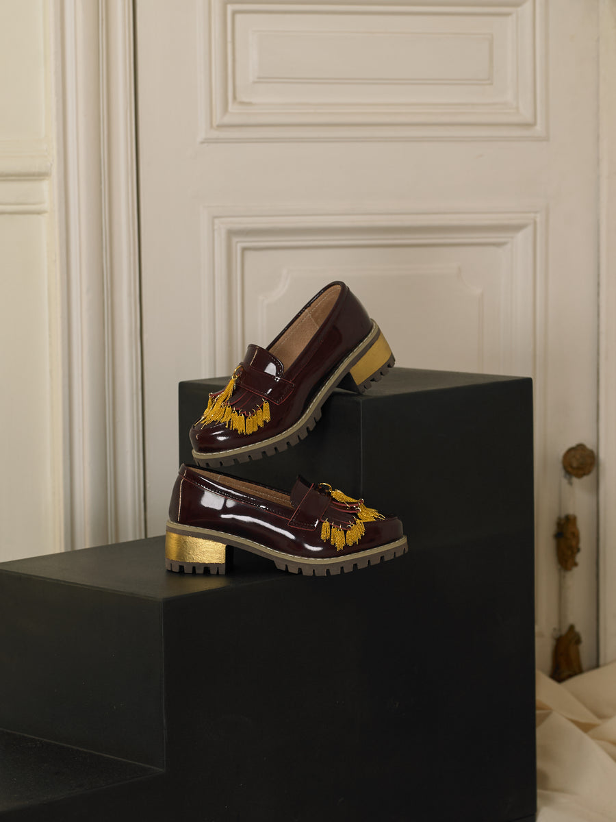 Artisanal Fringe Heeled Loafers - Bordeaux / Gold