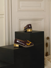 Load image into Gallery viewer, Artisanal Fringe Heeled Loafers - Bordeaux / Gold
