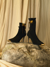 Load image into Gallery viewer, Artisanal Galia Techno-knit Heeled Boots - Black/Gold