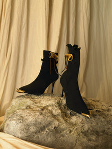 Artisanal Galia Techno-knit Heeled Boots - Black/Gold