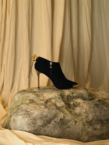 Artisanal Samu Heeled Boots - Black/Gold