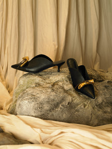 Artisanal Beauvoir Low heeled Mules - Black/Tarnish Sun