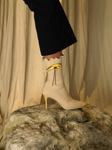 Artisanal Galia Techno-knit Heeled Boots - Sand/Gold