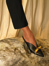 Load image into Gallery viewer, Artisanal Beauvoir Low heeled Mules - Black/Tarnish Sun