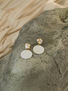 Idama Earrings - Gold/White