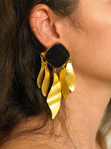 Indra Earrings - Gold/Black - Pair