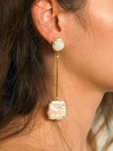 Hoba Drop Earrings - Gold/White - Pair