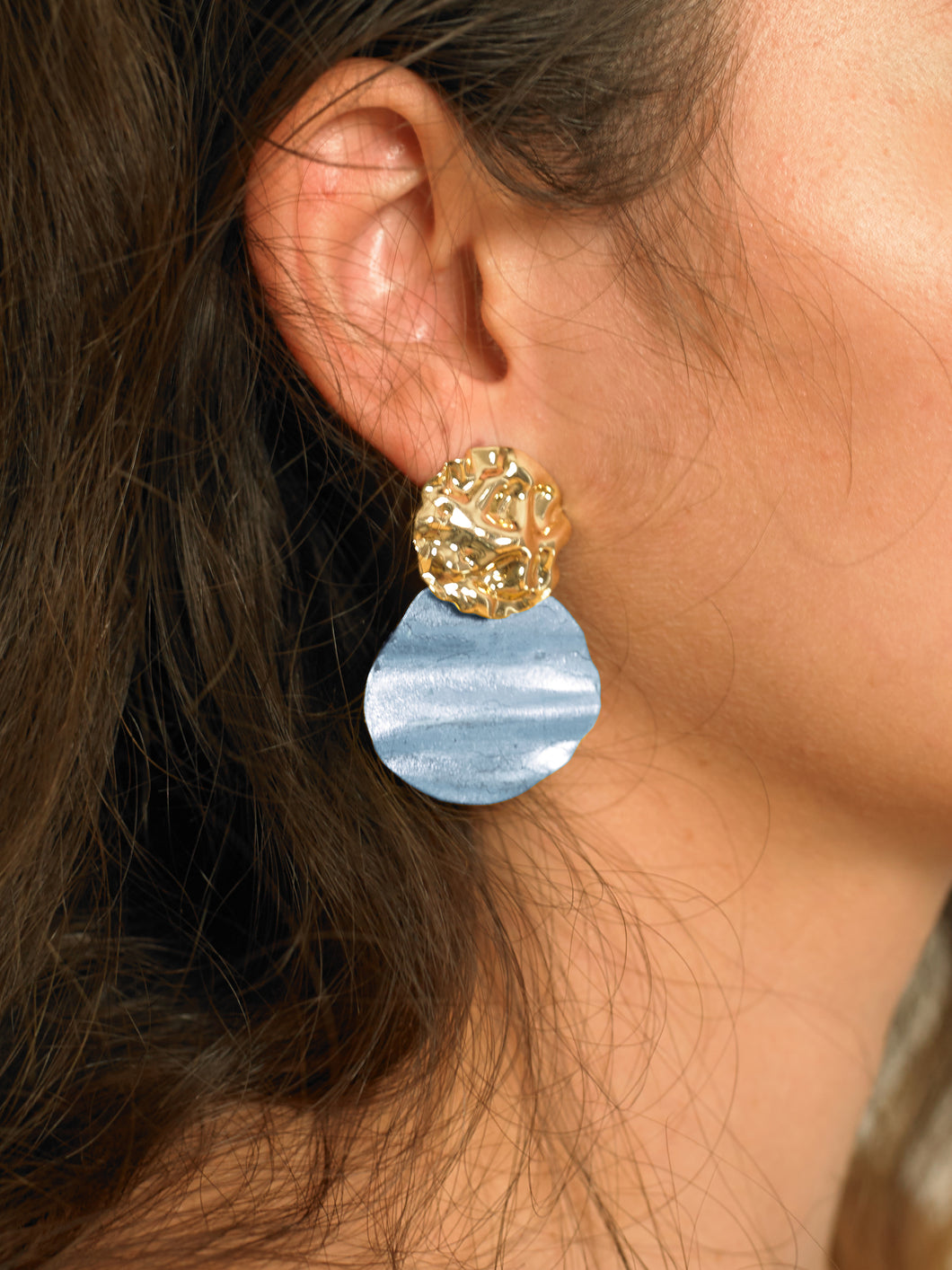 Lakos Earrings - Gold/Azur - Pair
