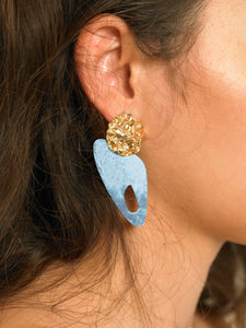 Samu Earrings - Gold/Azor - Pair