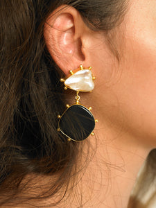 Ula Earrings - Gold/Black - Pair