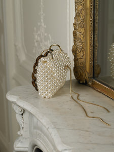 Artisanal Lalina Pearl Clutch - Pearl/Gold