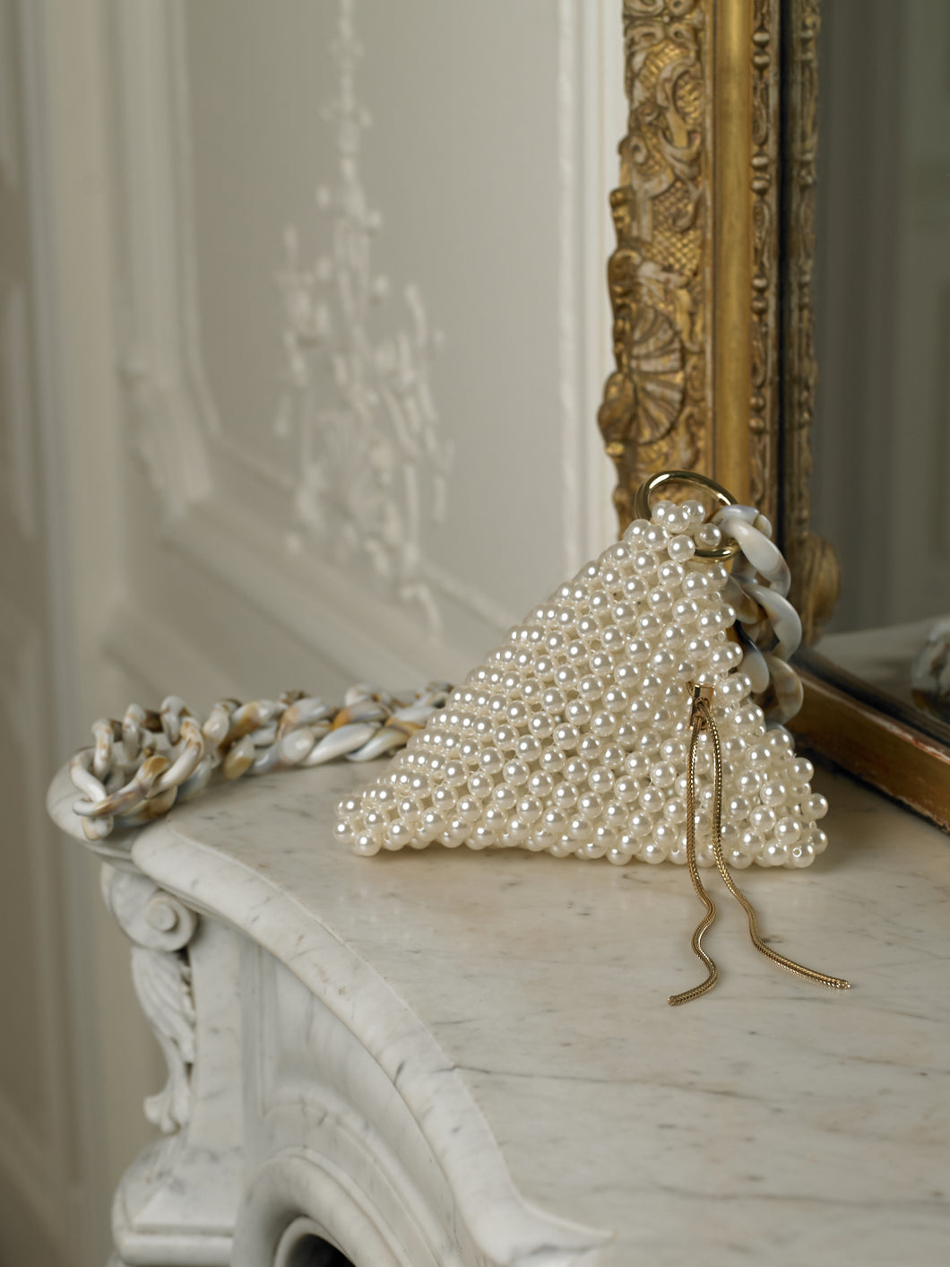Artisanal Triangular Eruma Pearl Bag - Pearl/Gold