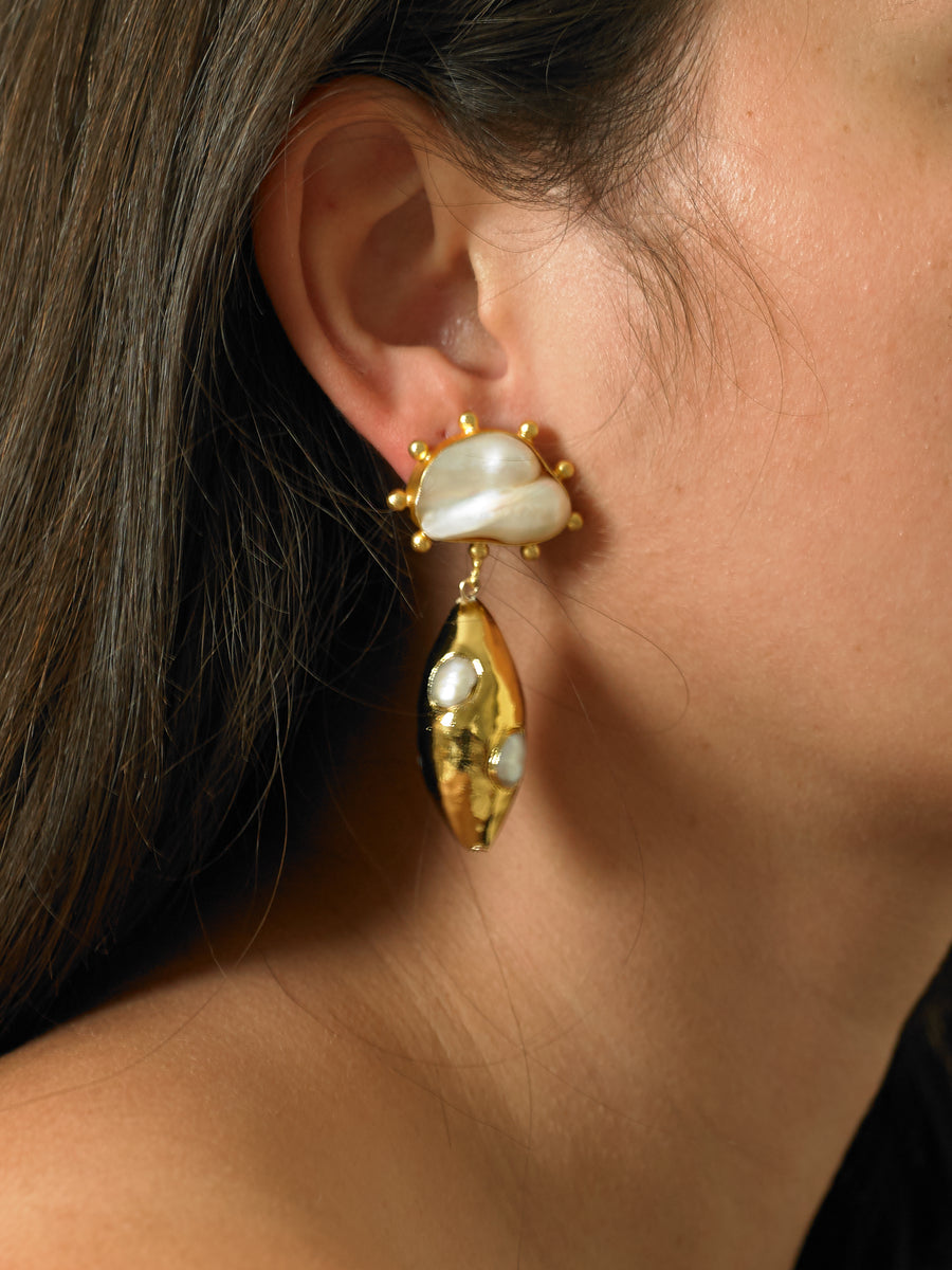 Galena Earrings - Gold/White
