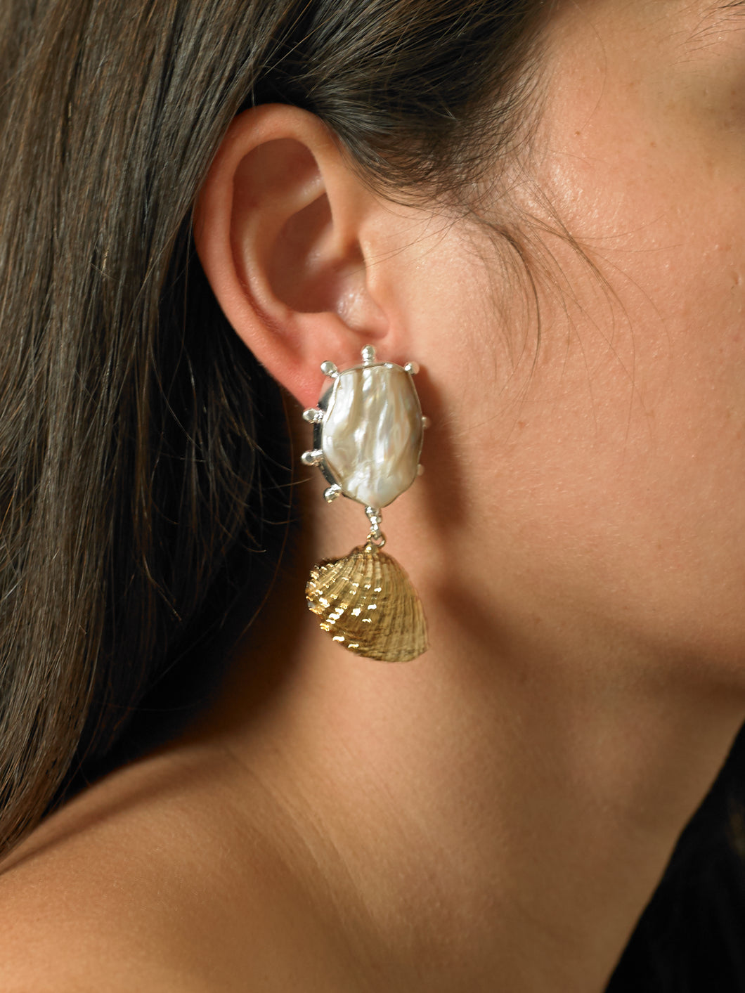 Ikata Earrings - White Gold/White