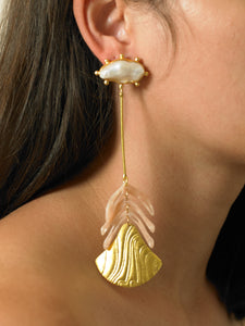 Bahara Earrings - Gold/Rosa
