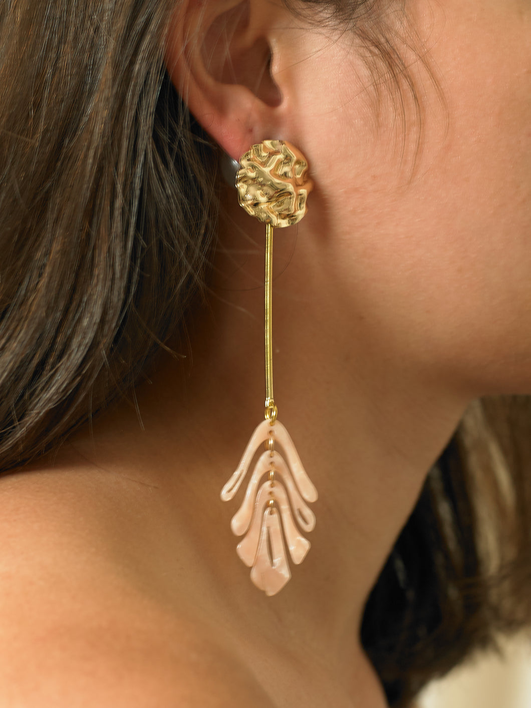 Isora Elongated Earrings - Gold/Rosa