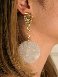 Darya Earrings - Gold/White