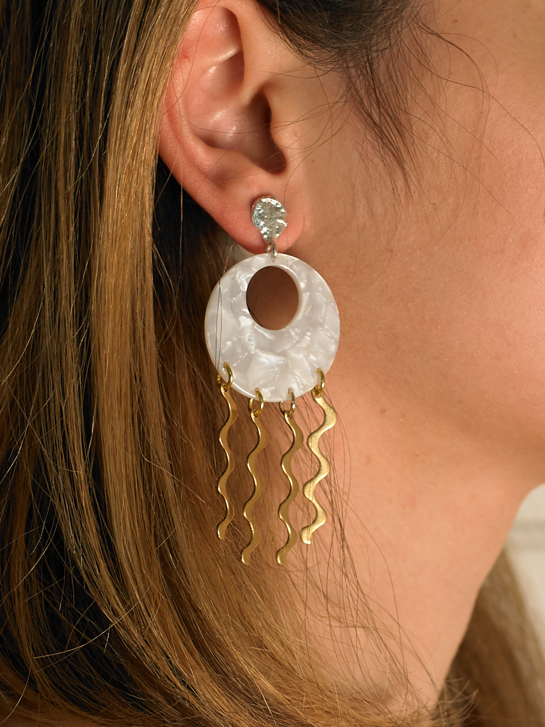 Atoosa Earrings - White Gold/White