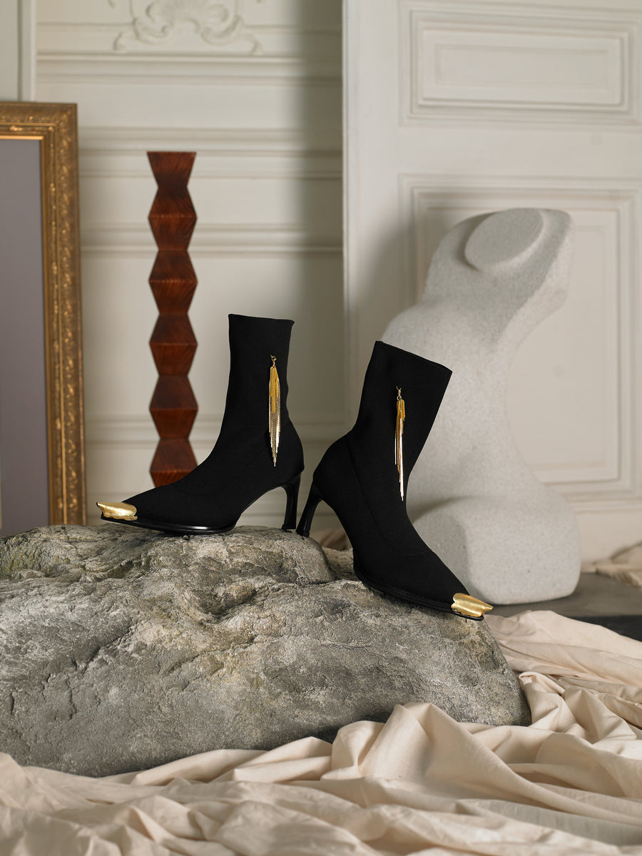 Artisanal Ulia Techno-knit Heeled Boots - Black/Gold