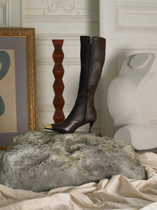 Artisanal Skala High Boots - Brown/Gold