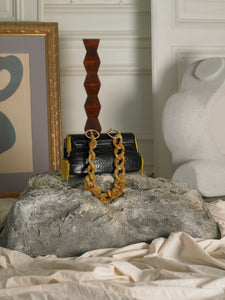 Dyome Chaine Clutch - Black/Gold