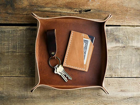 Leather Valet Tray Keys and Wallet Holder Craft Ideas