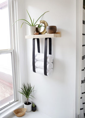 leather towel shelf DIY