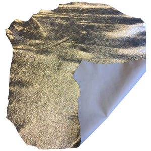 Silver Genuine Leather Hide Crackle Finish Metallic Goatskin Perfect for DIY Craft Material
