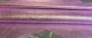 Pink Genuine Leather Hide Metallic Finish Perfect for Craft Sewing Fabric