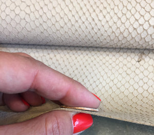 Genuine Leather Hide in Beige Grey with Snakeskin Embossing perfect for Crafting and Upholstery Projects