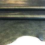 Green Genuine Leather Hide, Snakeskin Embossing for Crafting and Upholstery Projects