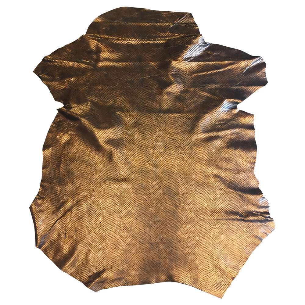 Genuine Leather Hides Snakeskin Print in Copper