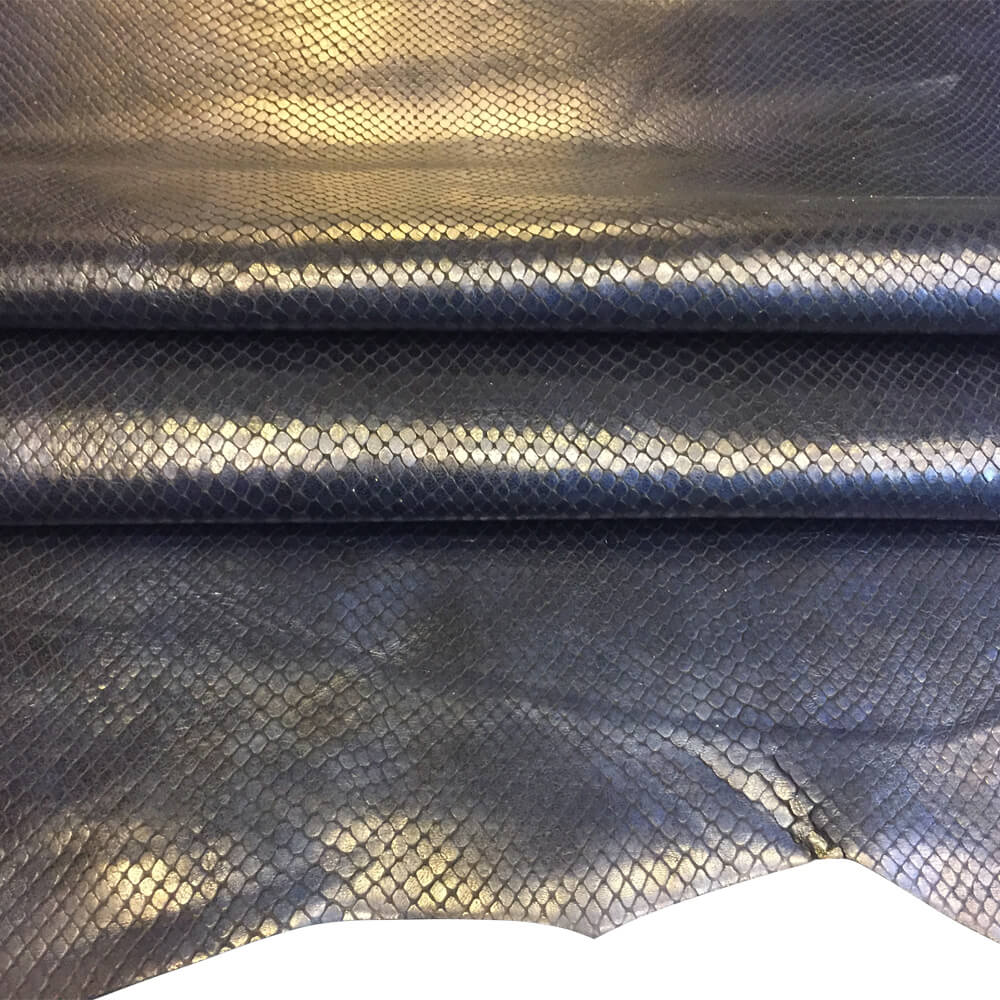 Blue Genuine Leather Hide, Snakeskin Embossing for Crafting and Sewing Projects
