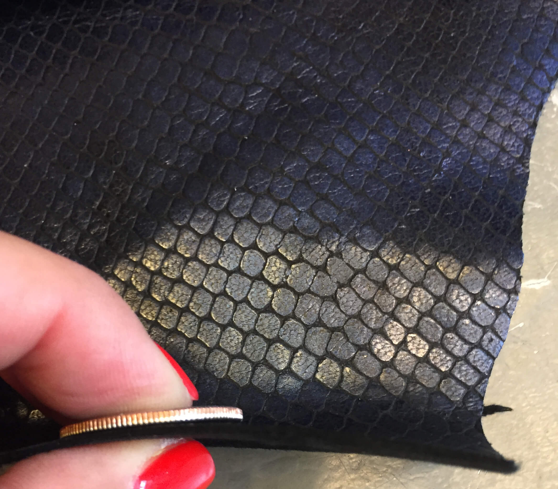 SALE Blue Genuine Leather Hide, Snakeskin Embossing for Crafting and Sewing Projects