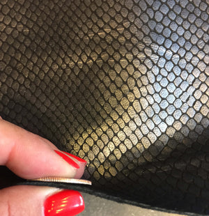 SALE Metallic Genuine Leather Hide, Snakeskin Embossing for Sewing and DIY Projects