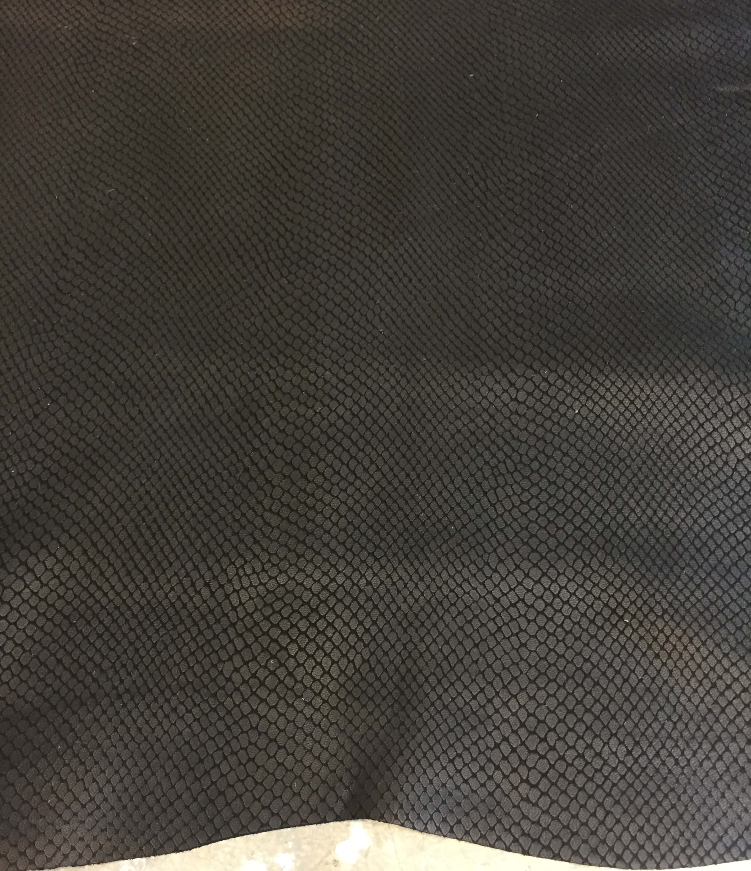 Black Genuine Leather Hide, Snakeskin Embossed for Crafting and Sewing Projects