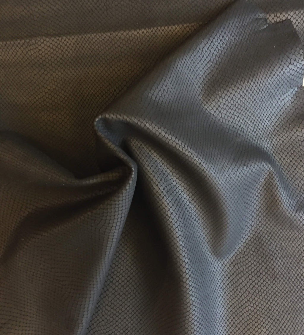 Black Genuine Leather Hides Snakeskin Finish Crafting Supply