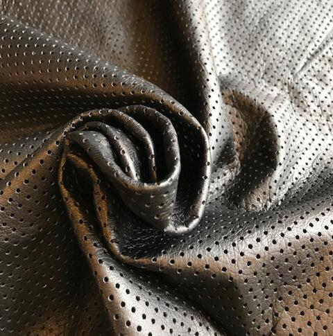 Buy Black Genuine Perforated Leather Hides for Crafting