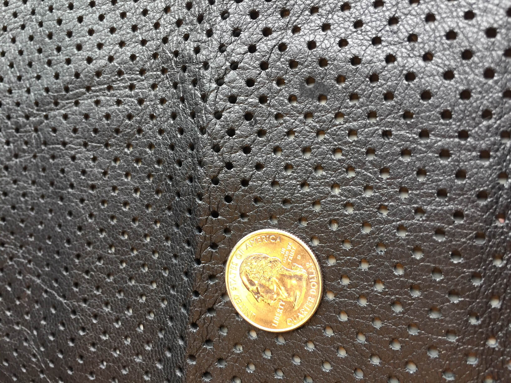 SALE Genuine Black Perforated Leather Hides crafting, upholstery, sewing material