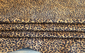 Leopard print genuine leather hide