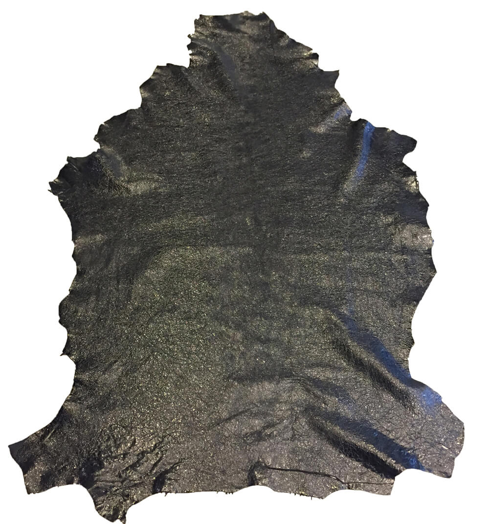 Black Genuine Leather Hides Shiny Finish Upholstery Fabric and Craft Material