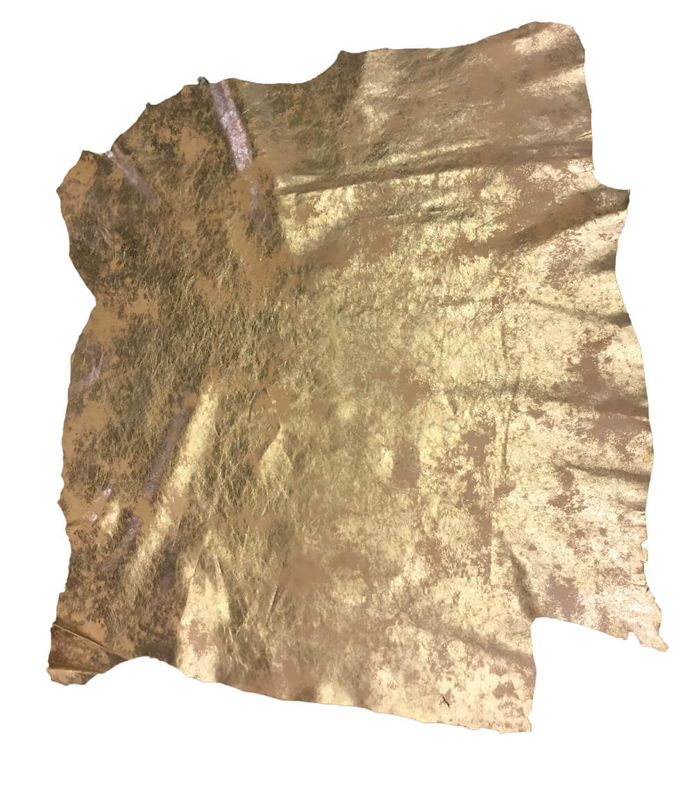 Cream Gold Metallic Leather Hide for Crafting